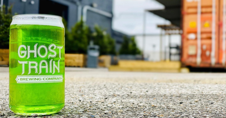 Ghost Train brewing green cup