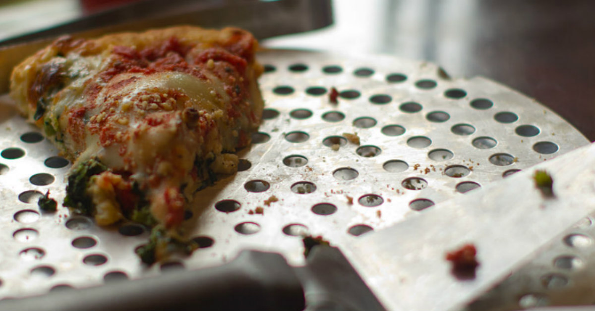 Deep dish pizza slice