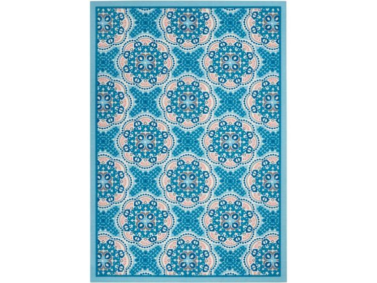 blue patterned rug