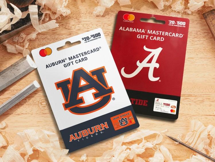 University Fancards Auburn and Alabama Mastercard gift cards