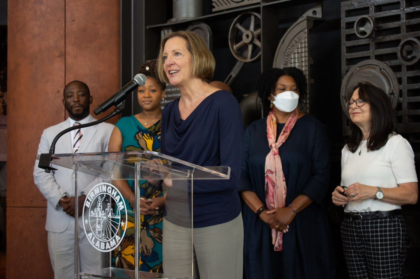 Darlene Negrotto, Vulcan Park & Museum's CEO, announced the Fourth of July fireworks celebration. Photo by Libby Foster for Bham Now.