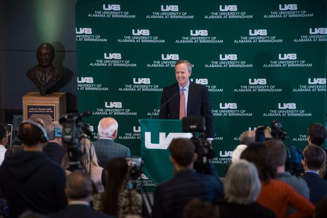 Craft O'Neal announcing his company's $30 million donation to UAB. Photo courtesy of O'Neal Industries