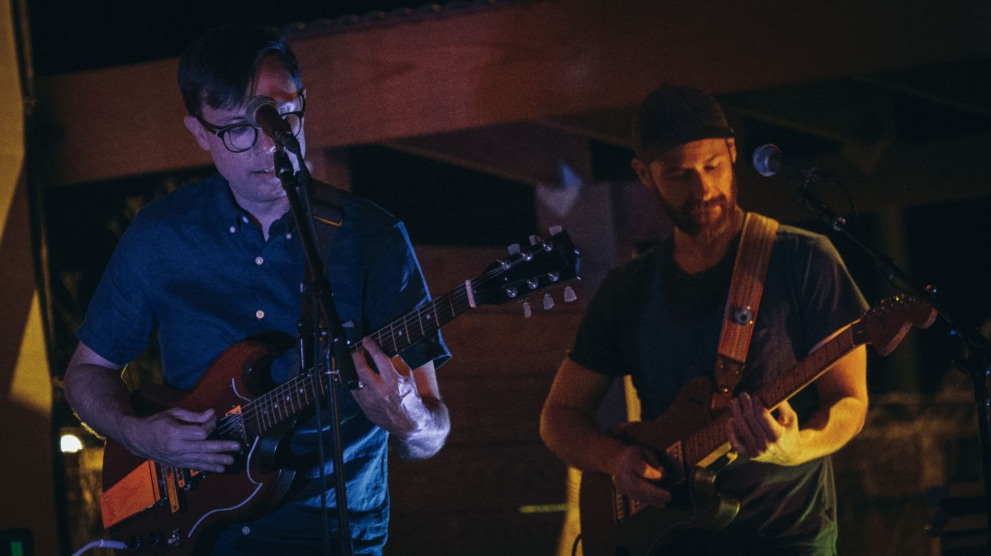 The Blips' Chris McCauley and Will Stewart perform at Ghost Train Brewing Company. Photo by Justin Shubert for Studio Moderne.