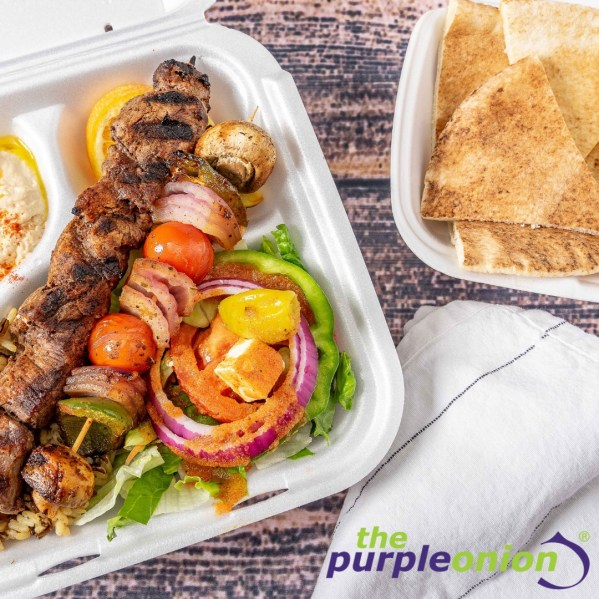 Chicken kabobs with a side of pita, please! We can't wait for the new Birmingham Purple Onion.