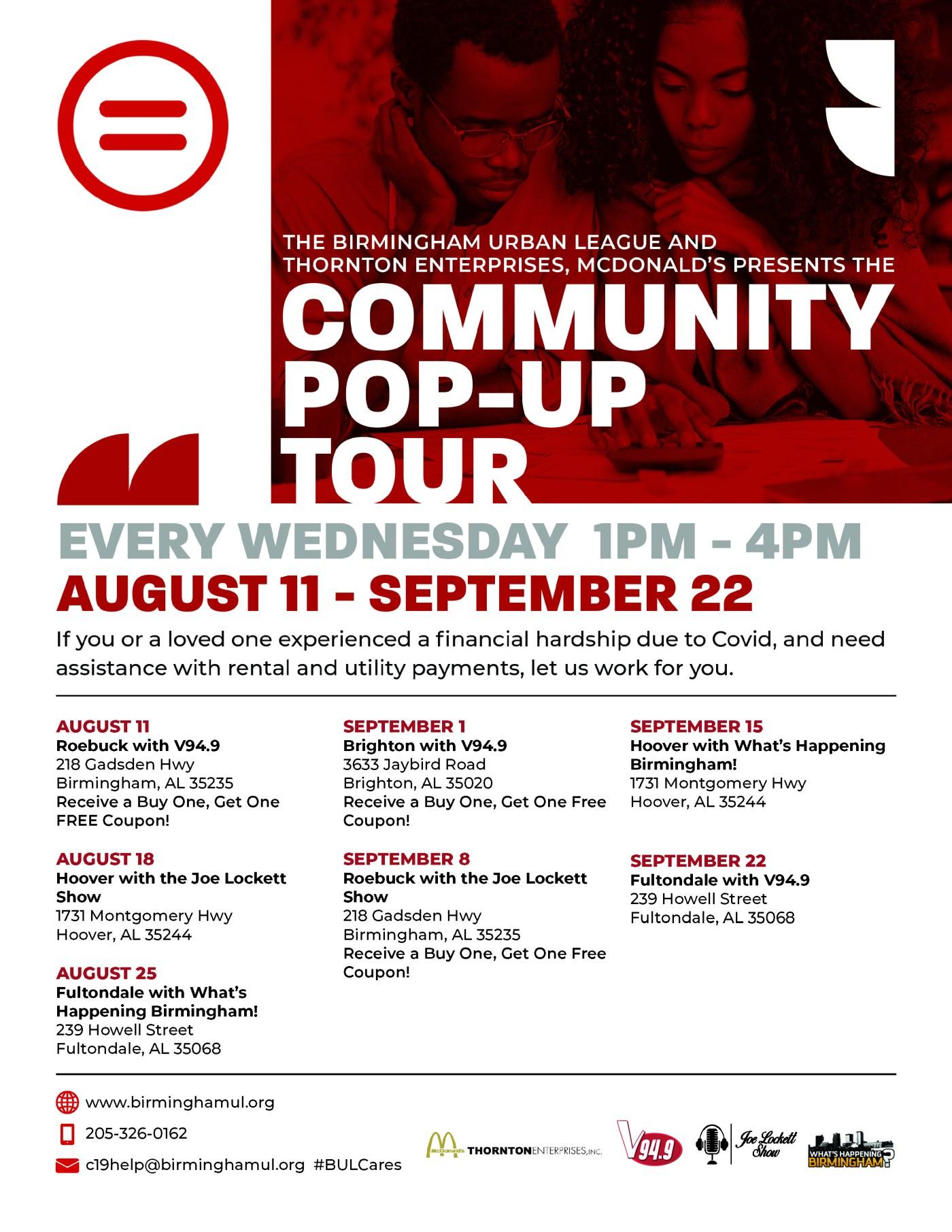Community pop-up tour flyer