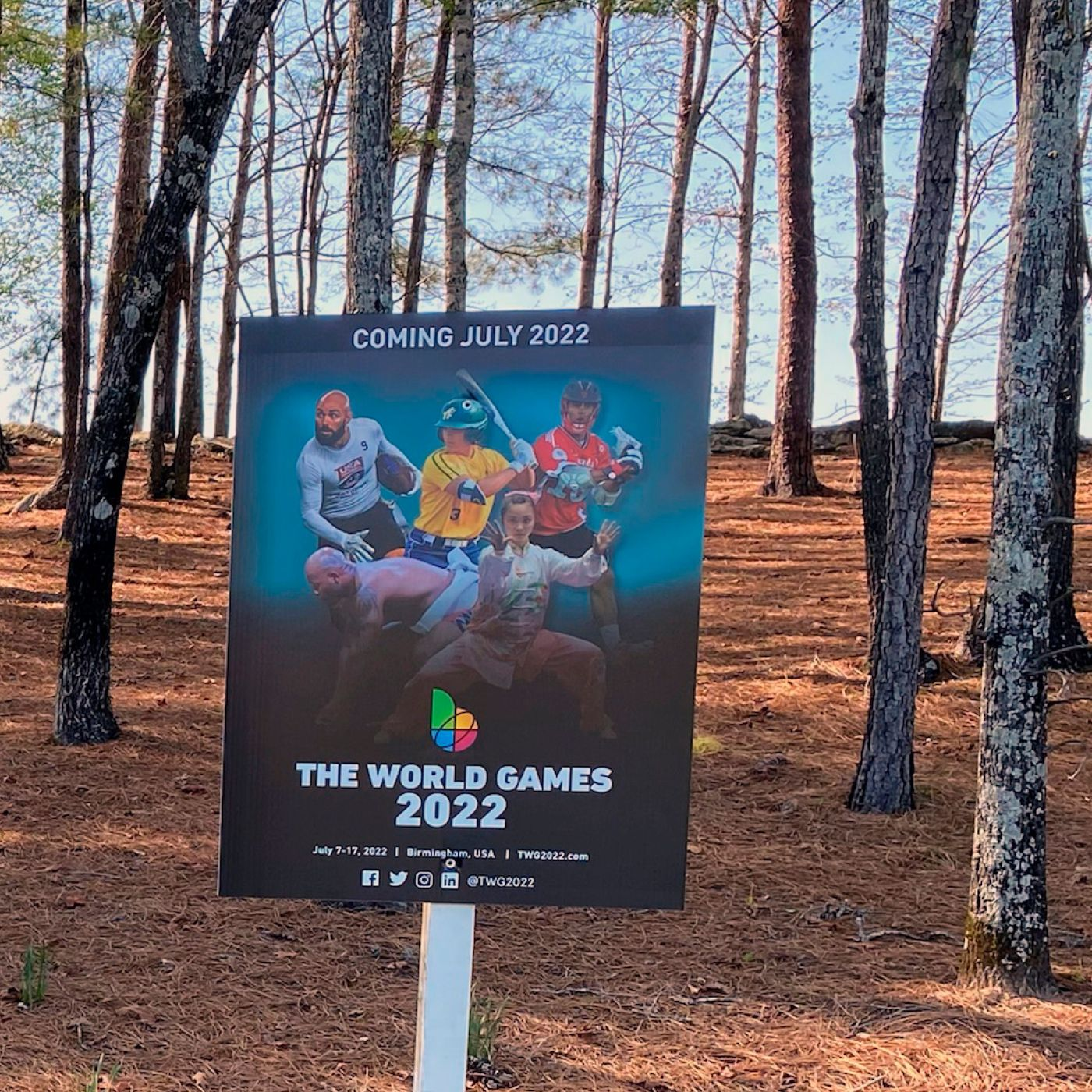 Sign of the world games in a field