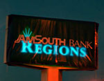 Covered AmSouth-Regions sign