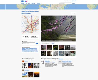 Screenshot of Flickr City pages - Birmingham, AL.