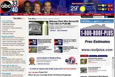 Screenshot of ABC 33/40 website