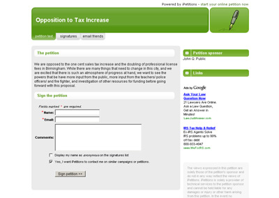 iPetitions screenshot - Tax increase opposition in Alabama
