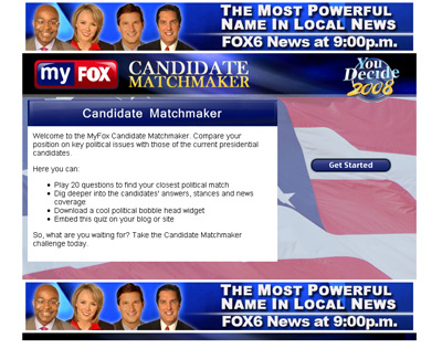 Fox News Candidate Matchmaker screenshot