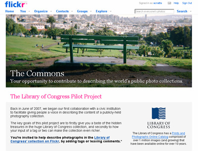 Screenshot of The Commons - Flickr
