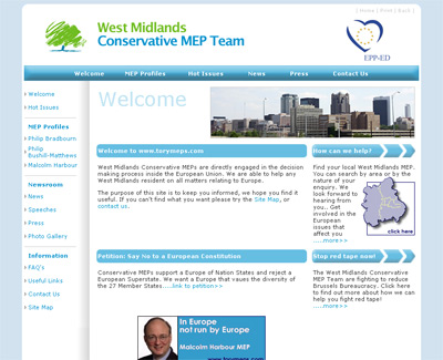 West Midlands Conservative Party website homepage