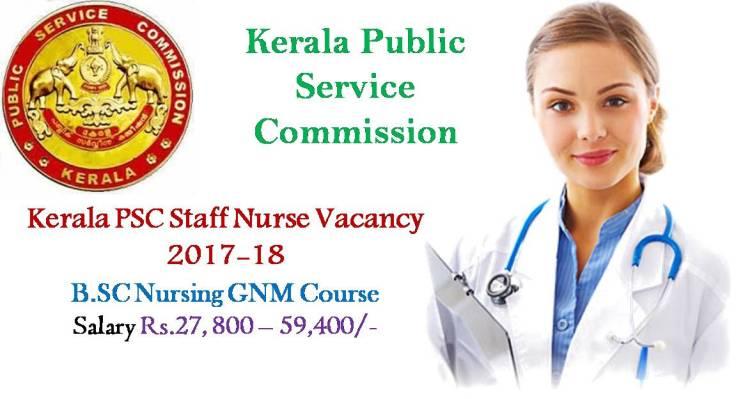 Kerala PSC Staff Nurse Vacancy 2017-18