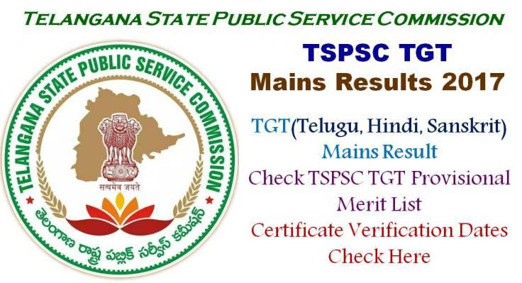 Telangana TSPSC TGT Mains Results 2017 Telugu Hindi Sanskrit