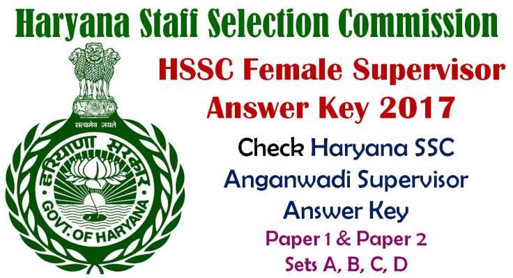 HSSC Female Supervisor Answer Key 2017