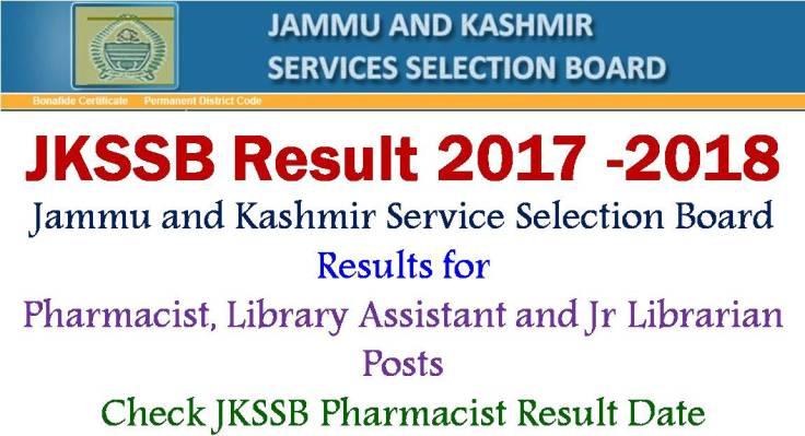 JKSSB Pharmacist Results
