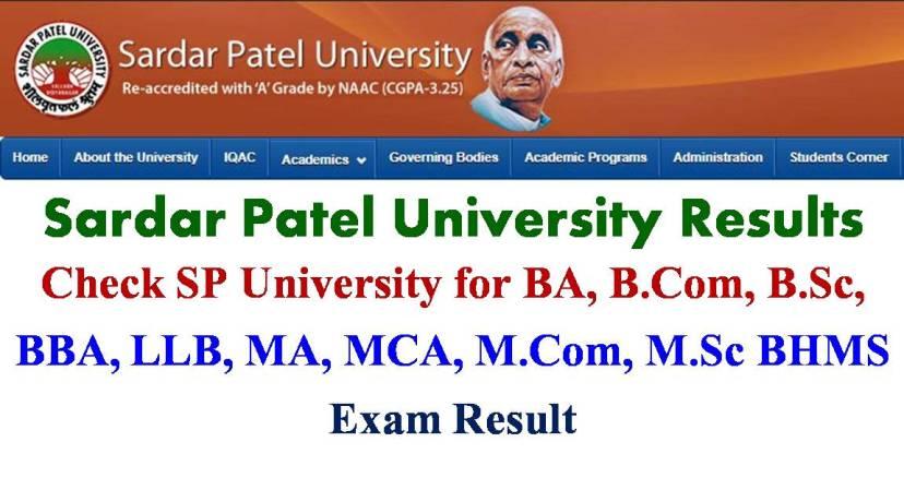 Sardar PAtel University Results, SPU Exam Result