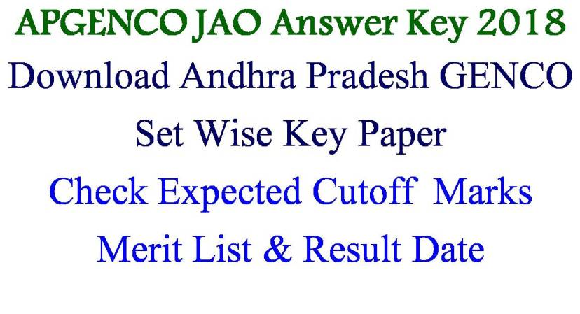APGENCO JAO Answer Key 2018