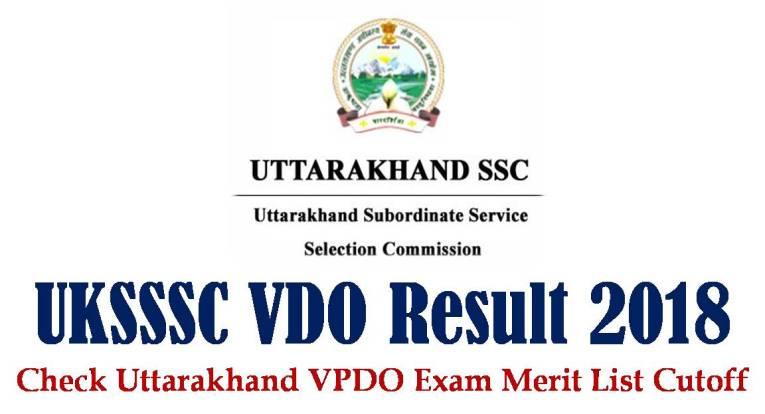 UTTARAKHAND VDO Result 2018