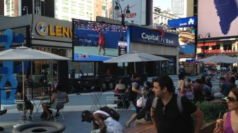 Road blocked for public viewing for the U.S.Open game outside Madison Square Garden