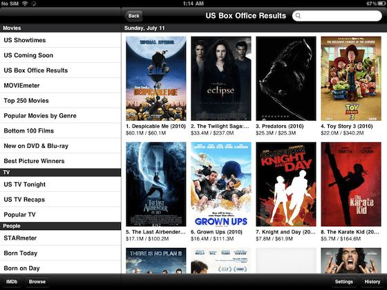 IMDB on iPad