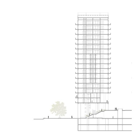 section through housing tower
