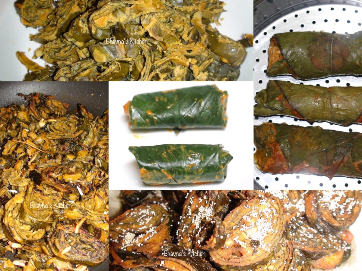 Arbi Patra - Pateria or Alu wadi - Taro Leaves Snacks