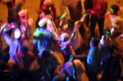 Crowd of devotees dancing