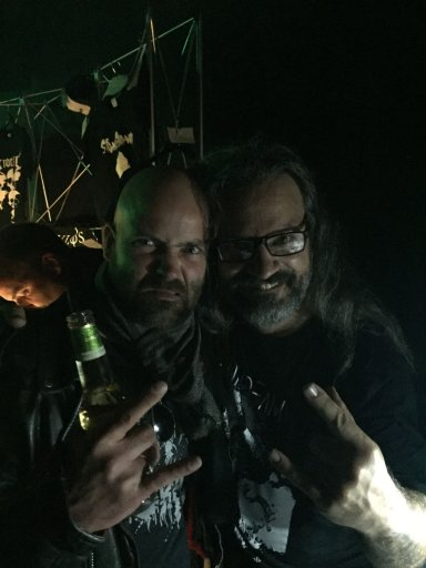 Yours truly (Left) with the one and only Luc Lemay of Gorguts (Right)