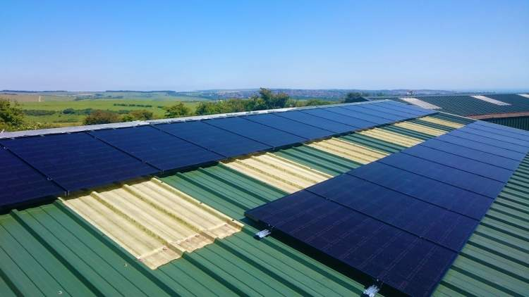 Solar Panels on the maintenance roof at Dyke Golf Club