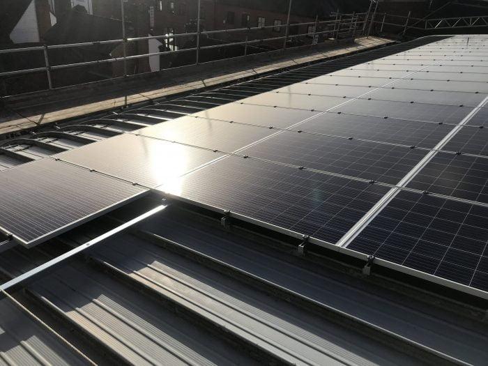 Rooftop solar panels at Brighton Road Baptist Church in Horsham