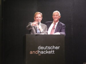 Celebrity auctioneer Edmund Capon, assisted by head auctioneer Roger McIlroy