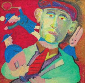 Ronald Greenaway, Portrait of Charles Blackman in 1959 (1989) oil on board, 58 x 58 cm