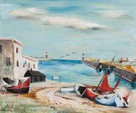 Lot 217 - Elaine Haxton, Untitled (Fishing Boats South England), 1950, est. $5,000-7,000. Slightly surrealist South England scene