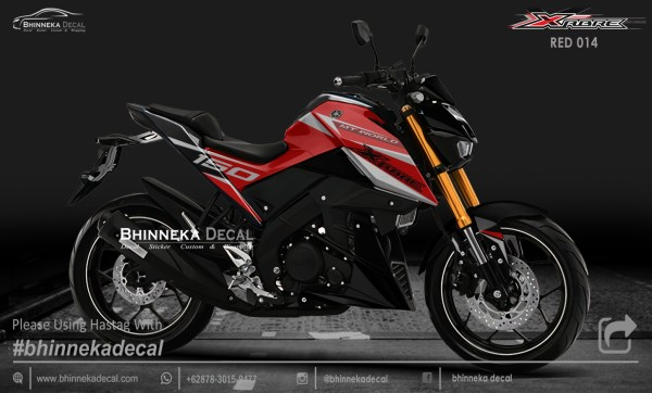 DECAL STICKER XABRE 150 GRAFIS RED KODE 010