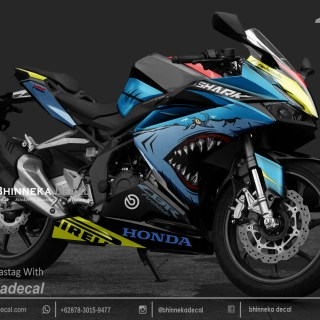 DECAL STICKER CBR 250 RR DESAIN NEW SHARK BLUE-017