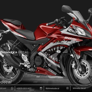 DECAL STIKER YAMAHA R15 V2 DESAIN NEW SHARK RED-011