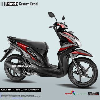 DECAL STICKER HONDA BEAT FI DESAIN GRAFIS RED-017