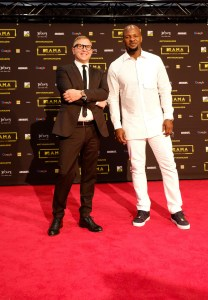 Raffaele Annecchino, Managing director of Viacom International Media Networks (L) and Alex Okosi (R) at the red carpet during the MAMA 2016 in Johannesburg, South Africa on October 22nd, 2016