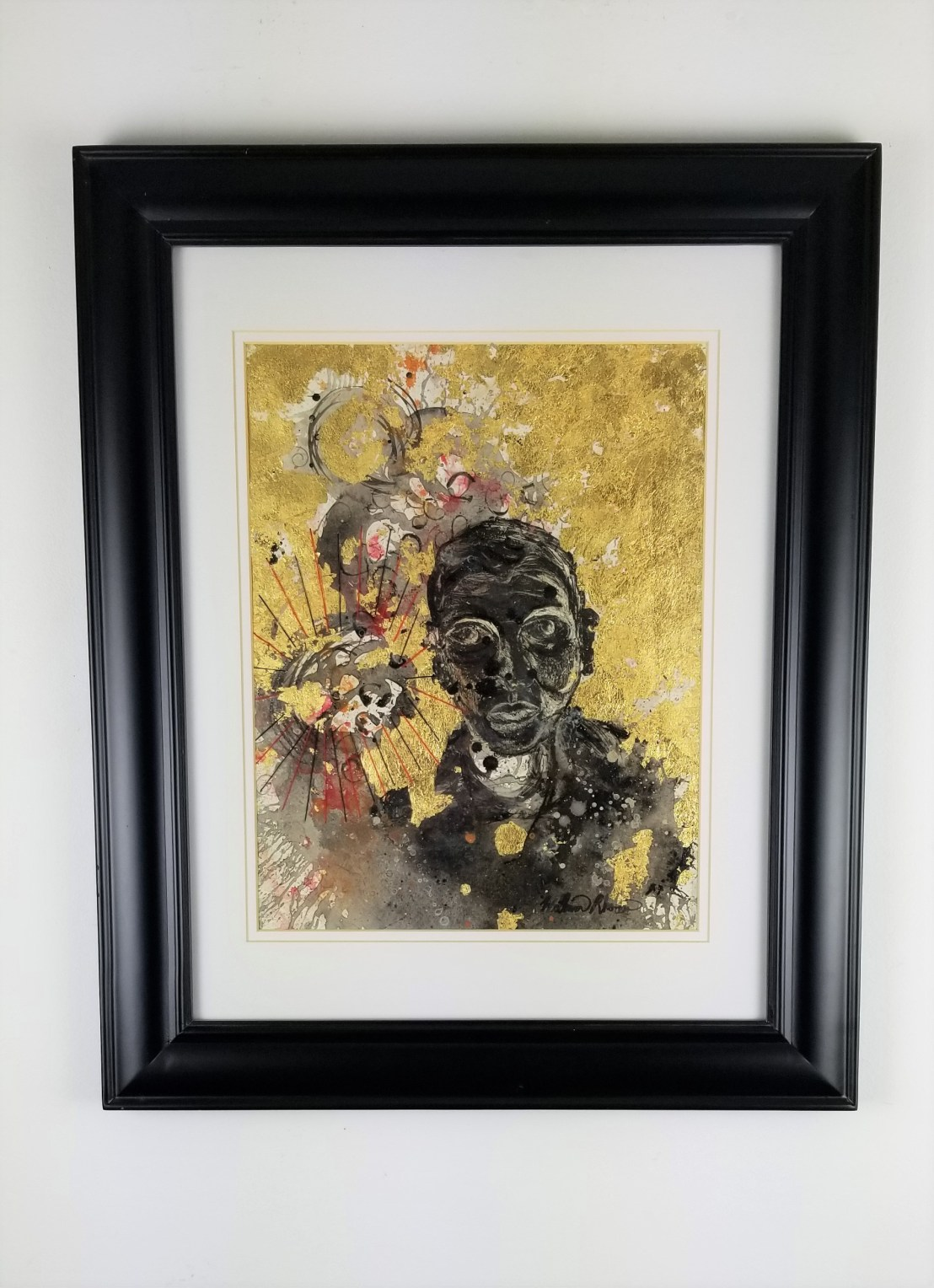 """""""Self Portrait #10""""; ( Comes in a frame) Mono - mixed media print; 22in x 18in x 1in; Year 2009; Suggested donation is $500"""