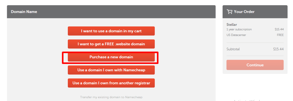 Add New Domain to Cart