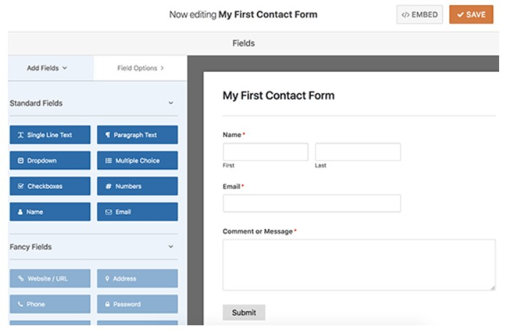 First contact form