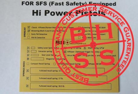 Ultimate Complete Optimizing Spring Kit for SFS (Fast Safety) equipped Hi-Powers