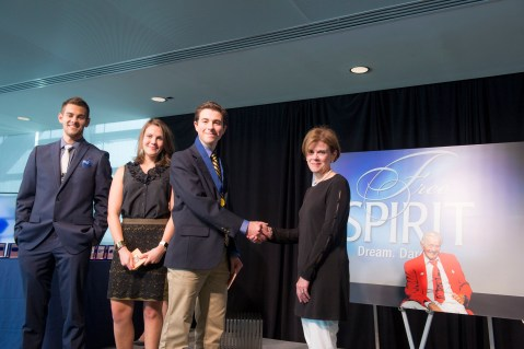 I receive my medal at the Free Spirit graduation from USA TODAY founder Al Neuharth's daughter, Jan Neuharth. To my left are Al Neuharth's grandchildren, Dani and AJ Neuharth-Keusch | Photo: Courtesy Newseum Institute