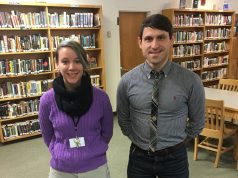 Abbey Pasquence and Sean Fleming both work in the Offensend Library at Burlington High School. | Photo: Lucy Govoni/Register