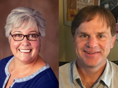Helen Hossley (left), is challenging incumbent Mark Barlow (right), for the North District seat on the Burlington School Board. | Courtesy Photos
