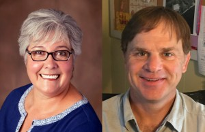Helen Hossley (left), is challenging incumbent Mark Barlow (right), for the North District seat on the Burlington School Board.   Courtesy Photos