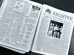 The front page of an edition of the Register from March 1953. The top story was the boys' basketball team's overtime victory over Montpelier to win the Class A championship. | Photo: Jake Bucci/Register