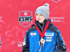 Burlington High School freshman Eamonn Bottger receives his medal after a podium finish in luge at the Empire State Winter Games in Lake Placid, N.Y. | Photo Courtesy: Eamonn Bottger